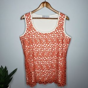 Donna Degnan Orange Crochet Knit Tank